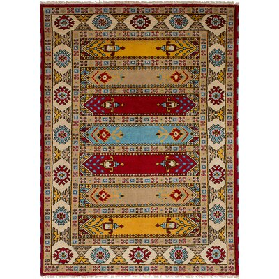 One-of-a-Kind Berkshire Hand-Knotted Wool Tan Area Rug