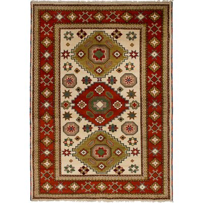 One-of-a-Kind Berkshire Hand-Knotted Wool Cream/Orange Area Rug