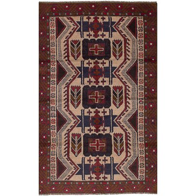 One-of-a-Kind Bilbo Hand-Knotted Wool Light Khaki/Red Area Rug