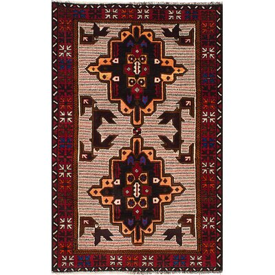 One-of-a-Kind Euler Hand-Knotted Wool Cream/Red Area Rug
