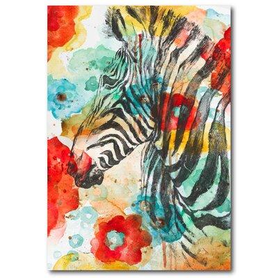 'Vibrant Zebra' Print on Wrapped Canvas 7734EB5CD99A4D2DBAC9A22326ABFA01