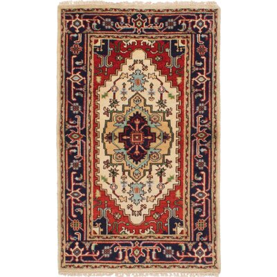One-of-a-Kind Briggs Hand-Knotted Wool Cream/Dark Copper Area Rug
