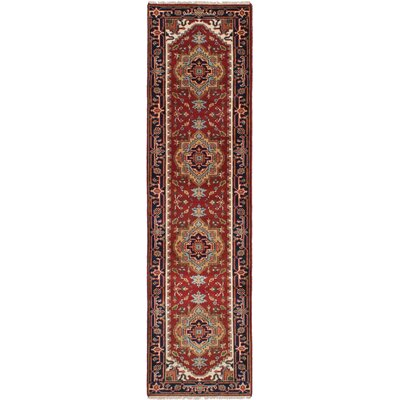 One-of-a-Kind Briggs Hand-Knotted Wool Dark Red Area Rug