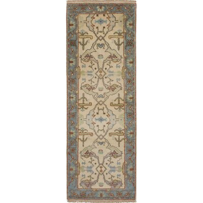 One-of-a-Kind Li Hand-Knotted Wool Cream Area Rug