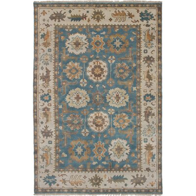 One-of-a-Kind Li Hand-Knotted Wool Turquoise Area Rug