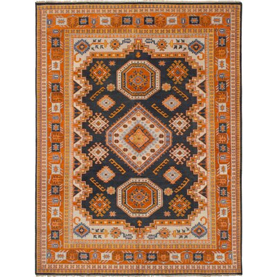 One-of-a-Kind Berkshire Hand-Knotted Wool Dark Navy/Orange Area Rug