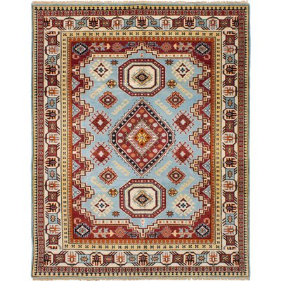 One-of-a-Kind Berkshire Hand-Knotted Wool Dark Red/Sky Blue Area Rug