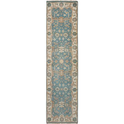 One-of-a-Kind Li Hand-Knotted Wool Sky Blue Area Rug