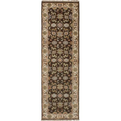 One-of-a-Kind Li Hand-Knotted Wool Dark Brown Area Rug