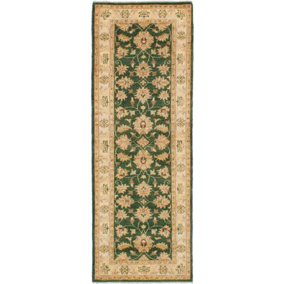 One-of-a-Kind Charlena Hand-Knotted Wool Green Area Rug
