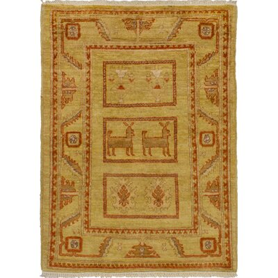 One-of-a-Kind Gordan Hand-Knotted Wool Khaki Area Rug