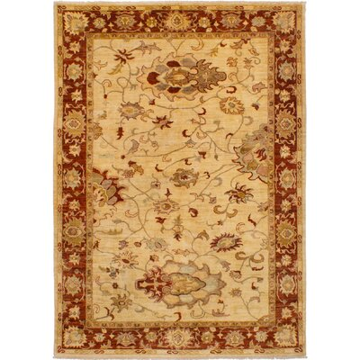 One-of-a-Kind Charlena Hand-Knotted Wool Cream Area Rug
