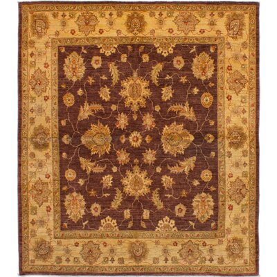 One-of-a-Kind Charlena Hand-Knotted Wool Burgundy Area Rug