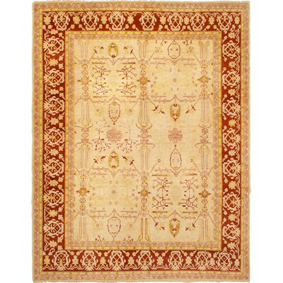 One-of-a-Kind Gordan Hand-Knotted Wool Cream Area Rug