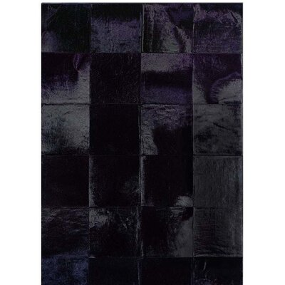 One-of-a-Kind Bellomy Patchwork Hand-Woven Cowhide Black Area Rug