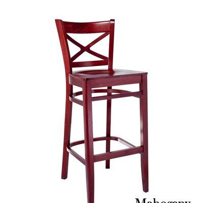 Helmuth Cross Back 30 Bar Stool Color: Mahogany