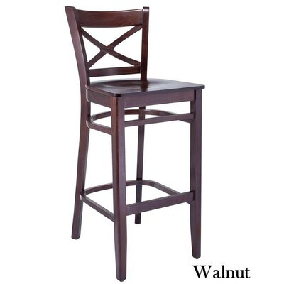 Helmuth Cross Back 30 Bar Stool Color: Walnut