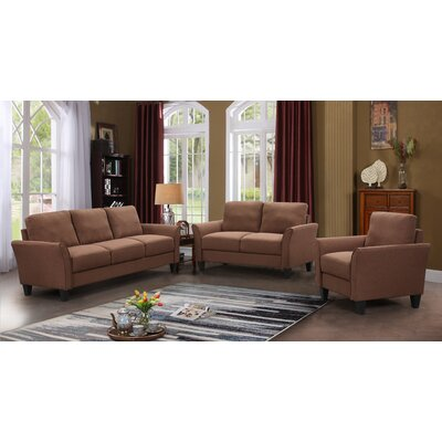 Galvez 3 Piece Living Room Set Upholstery: Brown