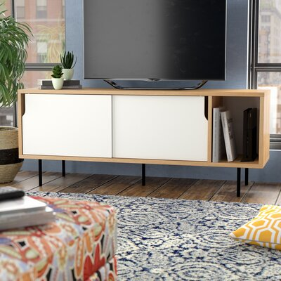 Garry 65 TV Stand Color: Oak Frame/ Pure White Doors / Black Steel Feet