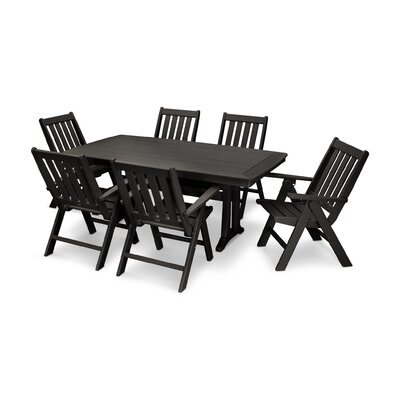 Vineyard Nautical Trestle 7 Piece Dining Set Color: Black