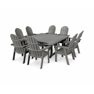 Vineyard Adirondack Nautical Trestle 9 Piece Dining Set Table Color: Slate Gray, Chair Color: Slate Gray
