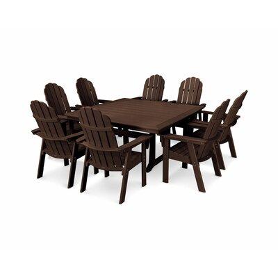 Vineyard Adirondack Nautical Trestle 9 Piece Dining Set Table Color: Mahogany, Chair Color: Mahogany