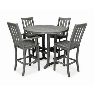 Vineyard Nautical Trestle 5 Piece Bar Set Color: Slate Gray