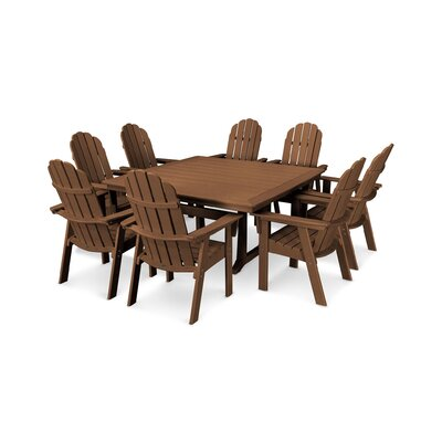 Vineyard Adirondack Nautical Trestle 9 Piece Dining Set Table Color: Teak, Chair Color: Teak