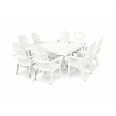Vineyard Adirondack Nautical Trestle 9 Piece Dining Set Table Color: White, Chair Color: White