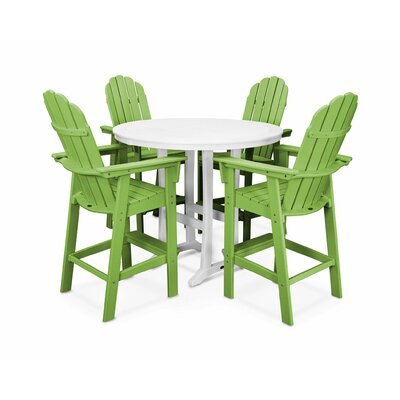 Vineyard Adirondack Nautical Trestle 5 Piece Bar Set Color: Lime/White