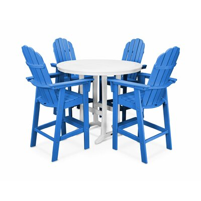 Vineyard Adirondack Nautical Trestle 5 Piece Bar Set Color: Pacific Blue/White