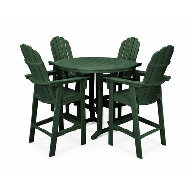 Vineyard Adirondack Nautical Trestle 5 Piece Bar Set Color: Green