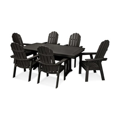 Vineyard Adirondack Nautical Trestle 7 Piece Dining Set Table Color: Black, Chair Color: Black