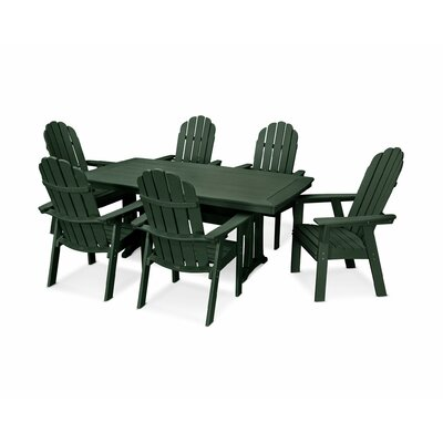 Vineyard Adirondack Nautical Trestle 7 Piece Dining Set Table Color: Green, Chair Color: Green
