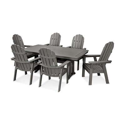 Vineyard Adirondack Nautical Trestle 7 Piece Dining Set Table Color: Slate Gray, Chair Color: Slate Gray