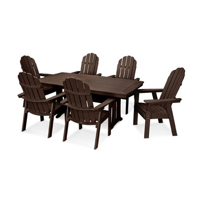Vineyard Adirondack Nautical Trestle 7 Piece Dining Set Table Color: Mahogany, Chair Color: Mahogany