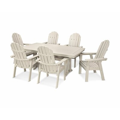 Vineyard Adirondack Nautical Trestle 7 Piece Dining Set Table Color: Sand, Chair Color: Sand