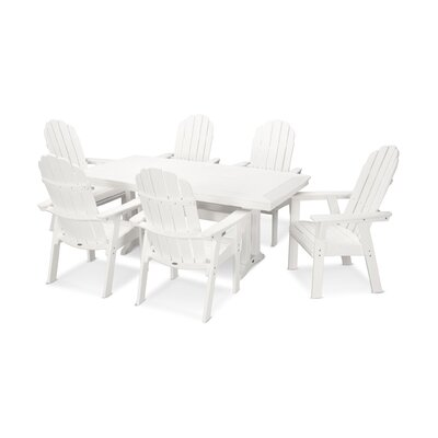 Vineyard Adirondack Nautical Trestle 7 Piece Dining Set Table Color: White, Chair Color: White