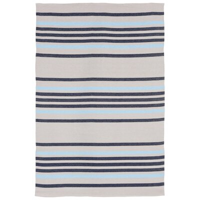 Adalberto Stripe Beige/Navy Indoor/Outdoor Area Rug Rug Size: Runner 2 x 76