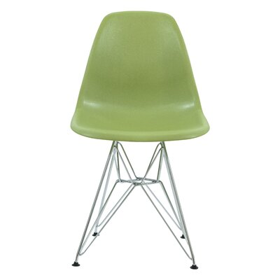 Alethia Dining Chair Color: Solid Green/Chrome