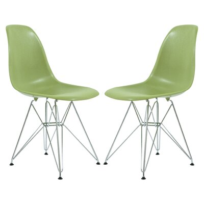 Alethia Patio Dining Chair Color: Solid Green/Chrome
