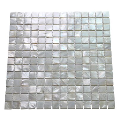 Mini Square 1 x 1 Seashell Mosaic Tile in Silver