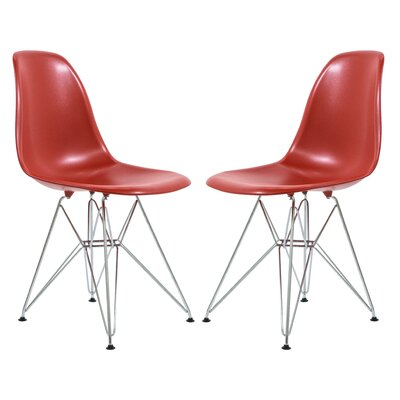 Alethia Patio Dining Chair Color: Solid Red/Chrome