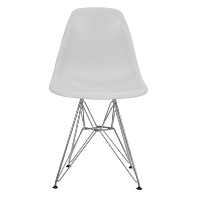 Alethia Dining Chair Color: Solid White/Chrome
