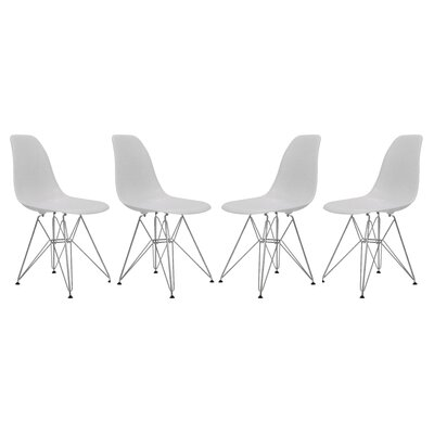 Alethia Patio Dining Chair Color: Solid White/Chrome