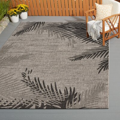 Weilers Shaded Palms Beige/Black Indoor/Outdoor Area Rug Rug Size: Rectangle 5 x 7