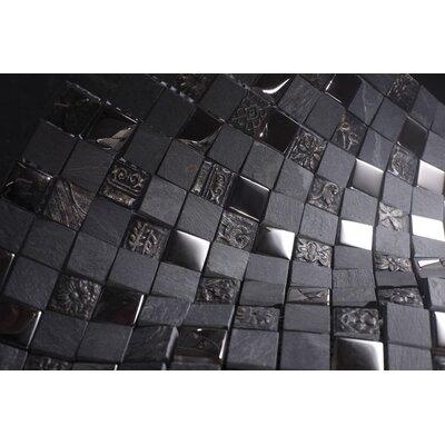 SAMPLE - Glass Mosaic Tile in Gray/Black