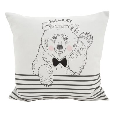 Owens Animal Dessin� Hello Bear Striped Cotton Throw Pillow