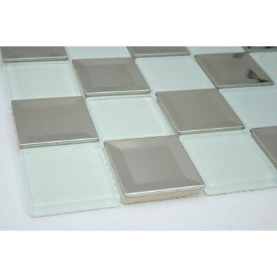 2 x 2 Metal Mosaic Tile in Gray