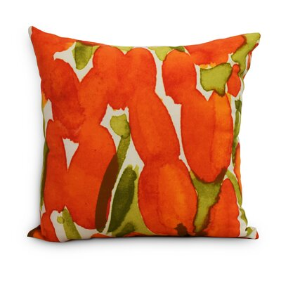 Quast Tulip Throw Pillow Color: Orange, Size: Extra Large, Location: Outdoor